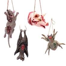 4 PCS Halloween Realistic Bloody Horror Props Fake Bat Mouse Spider Pig Head Animal Shape Pendant Decoration