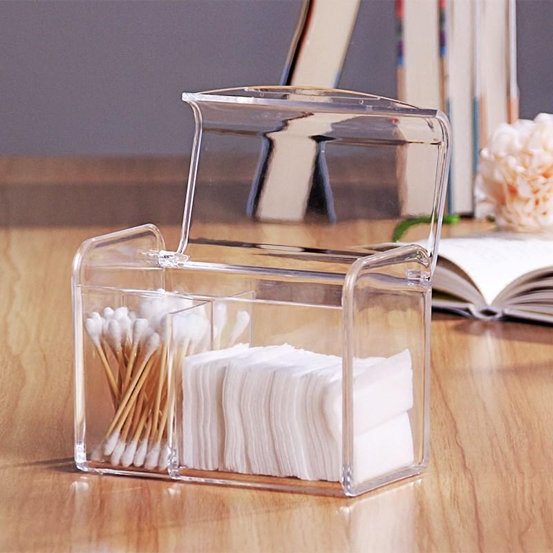Storage-Box Paper-Towel Desktop-Organizer Multi-Function Cotton-Swab Acrylic Transparent