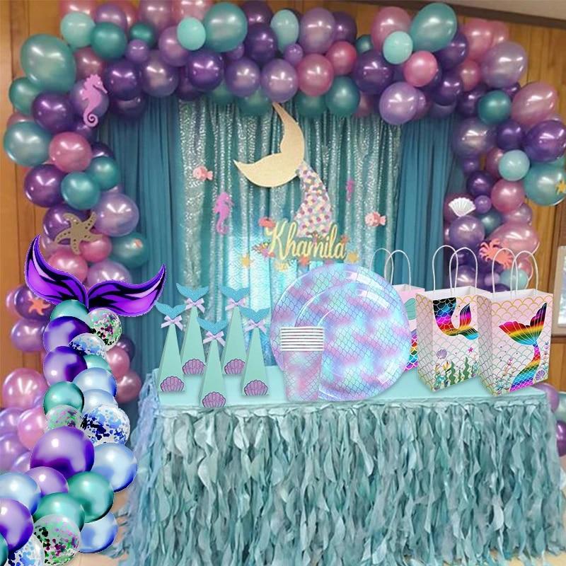 Little Mermaid Party Supplies Theme Mermaid Decor Mermaid Birthday Party Decorations Kids Favor Birthday Baby Shower Party Decor Party Diy Decorations Aliexpress