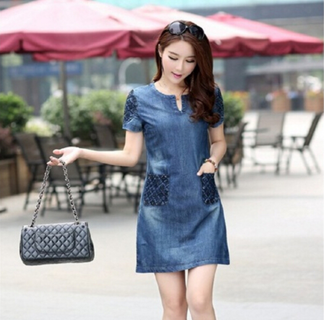 Casual <font><b>Jean</b></font> Mini <font><b>Dress</b></font> Elegant Denim Pocket <font><b>Dress</b></font> Lady Plus Size <font><b>Sexy</b></font> v-neck Slim Short Sleeve Clothing Ropa Mujer Plus Size image