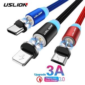 USLION-Cable USB magnético de carga rápida 3A para iPhone 11, Cable magnético Micro USB tipo C para Samsung S10 S9 USB-C, 2m