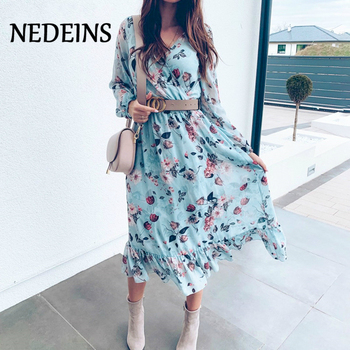NEDEINS Summer Beach Print Blue Long Sleeve Dress Women Ruffles Boho   Female Casual Dress Fashion Plus Size Dresses 2020 casual long sleeve geometric print plus size dress for women