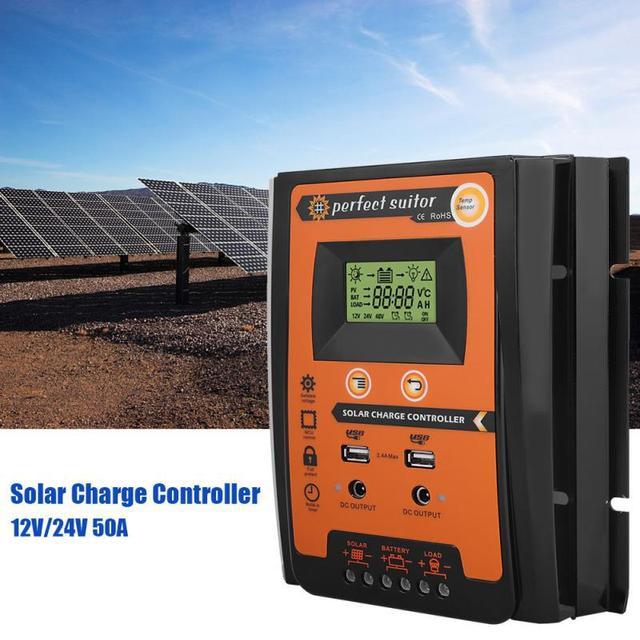 12 فولت/24 فولت 30A الشمسية جهاز التحكم في الشحن الشمسية منظم بطارية اللوحة المزدوجة USB شاشة الكريستال السائل مع دليل المستخدم 10 بيك