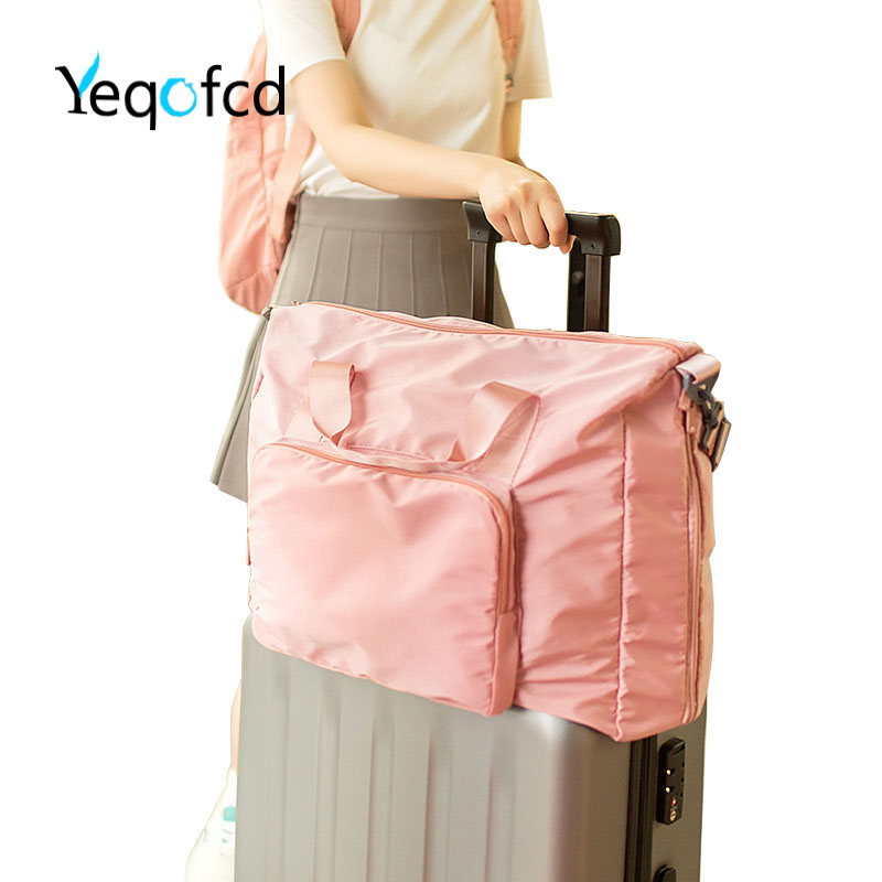 Yeqofcd Foldable Travelling Bag High Quality Luggage Organizer Zipper Shoulder Portable Travel Duffle Bags Tote Polyester Fiber