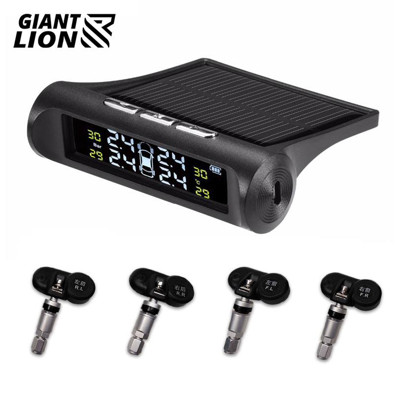 Solar Power TPMS Car Tire Pressure Alarm Monitor System Auto Security Alarm Systems Tyre Pressure Temperature Warning
