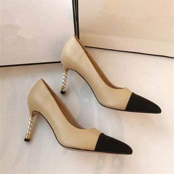 Sexy Pointed Toe High Heel Shoes Woman Black Leather Thin Heels Pumps White Pearls Decorations Party Dress heels цена 2017