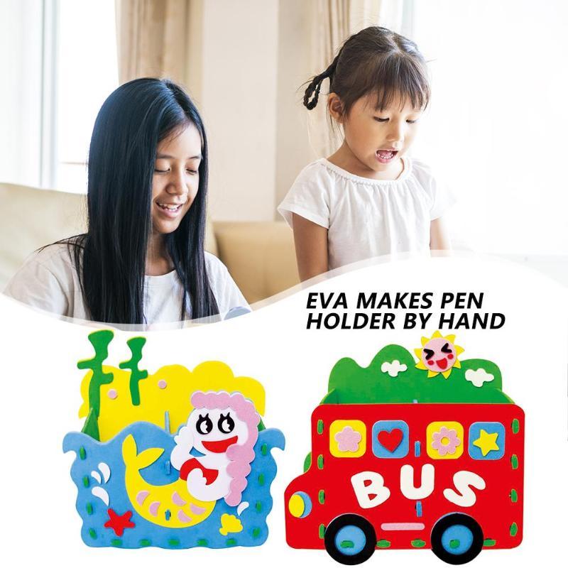 EVA Handmade Pen Vase Pencil Pot Exercise Image Thinking Ability Creative Lovely Cartoon Paste DIY 3D Sticker Random