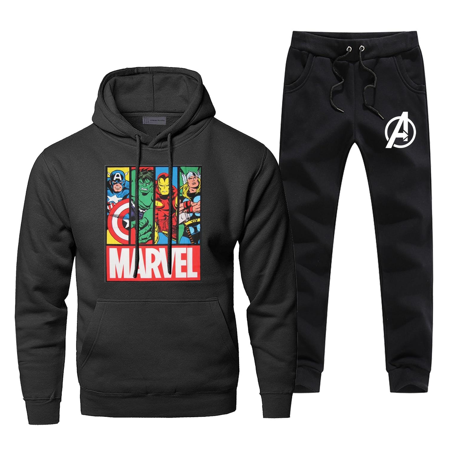Marvel Avengers Mens Hoodies Sets Two Piece Pant Superhero Hoody Sweatshirt Sweatpants Streetwear Iron Man Thor Hulk Sweatshirts