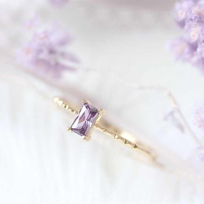 2019 Zircon สีม่วงลาเวนเดอร์ Elegant Lady แหวนคุณภาพสูงแฟชั่นเครื่องประดับของขวัญโรแมนติกหมั้นแหวน