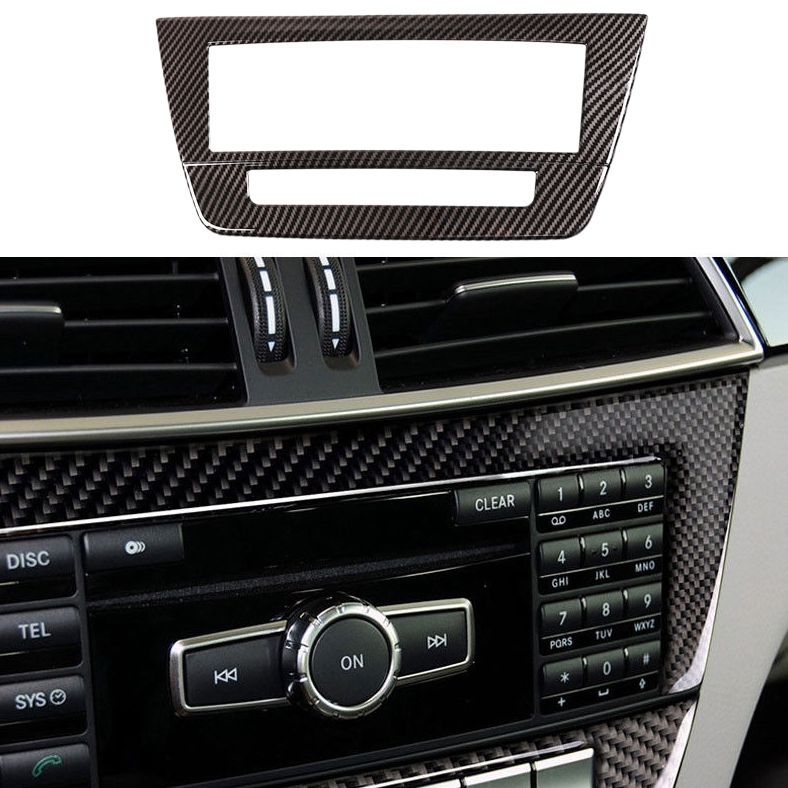 Carbon Fiber Central Control Cover Sticker For Mercedes W204 C Class 2010-2014