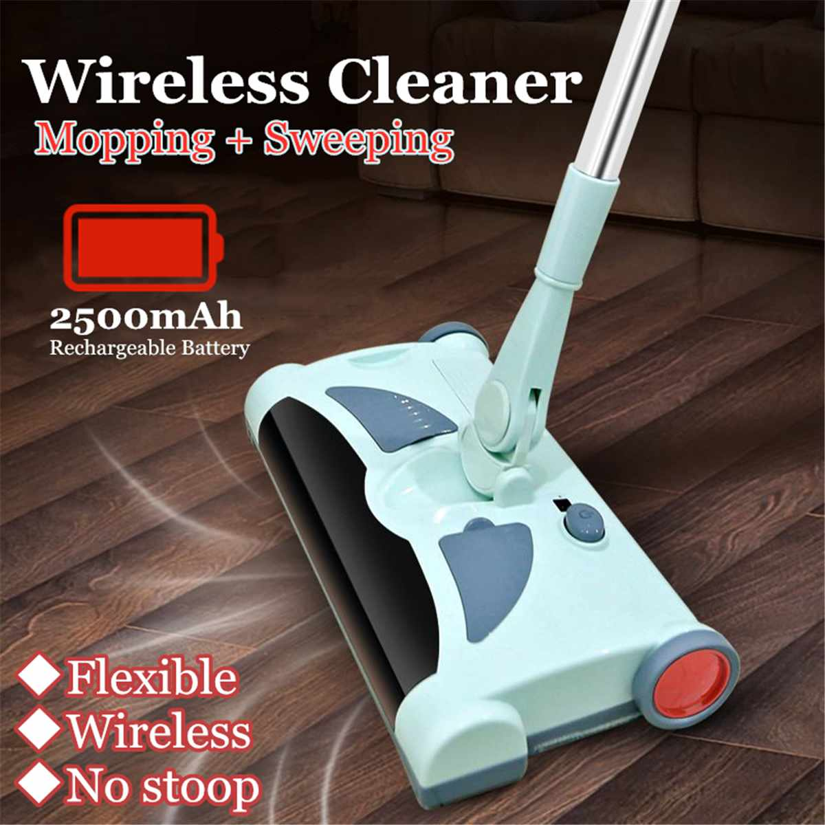 Hot Sale Ultra Quiet Stainless  Home Wireless Electric Hand Push Sweeper Spinning Broom Mop Household Cleaning