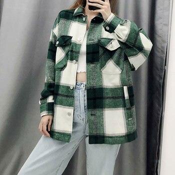 الشتاء الربيع المرأة منقوشة معطف طويل عادية دافئ Vintage سترة السيدات الموضة أبلى