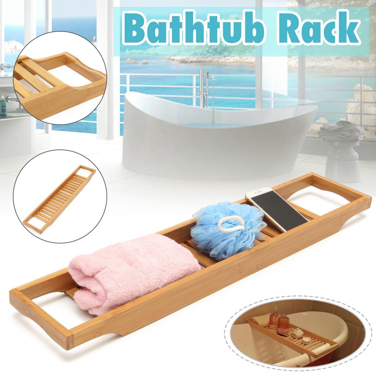 Bamboo Bathtub Tray Bath Tray Spa Bathtub Caddy Organizer Book Wine Tablet Holder Reading Rack