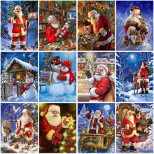 Santa claus diy christmas 5d diamond painting full round mosaic