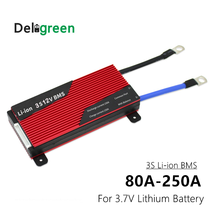 Deligreen Bms 3S 12V 80A 100A 120A 150A 200A 250A Lithium Battery BMS/PCB For Li-ion Lipo Battery With Balance