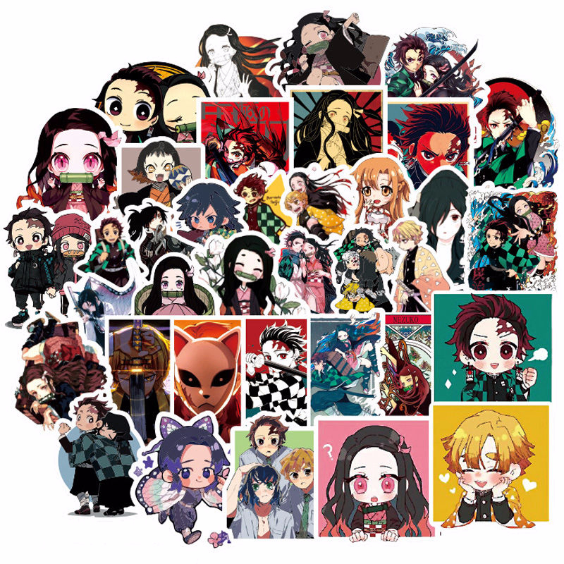 50pcs/set Demon Slayer Kimetsu No Yaiba Sticker Tanjirou Nezuko Agatsuma Zenitsu DIY Waterproof Stickers Props Randomly Send