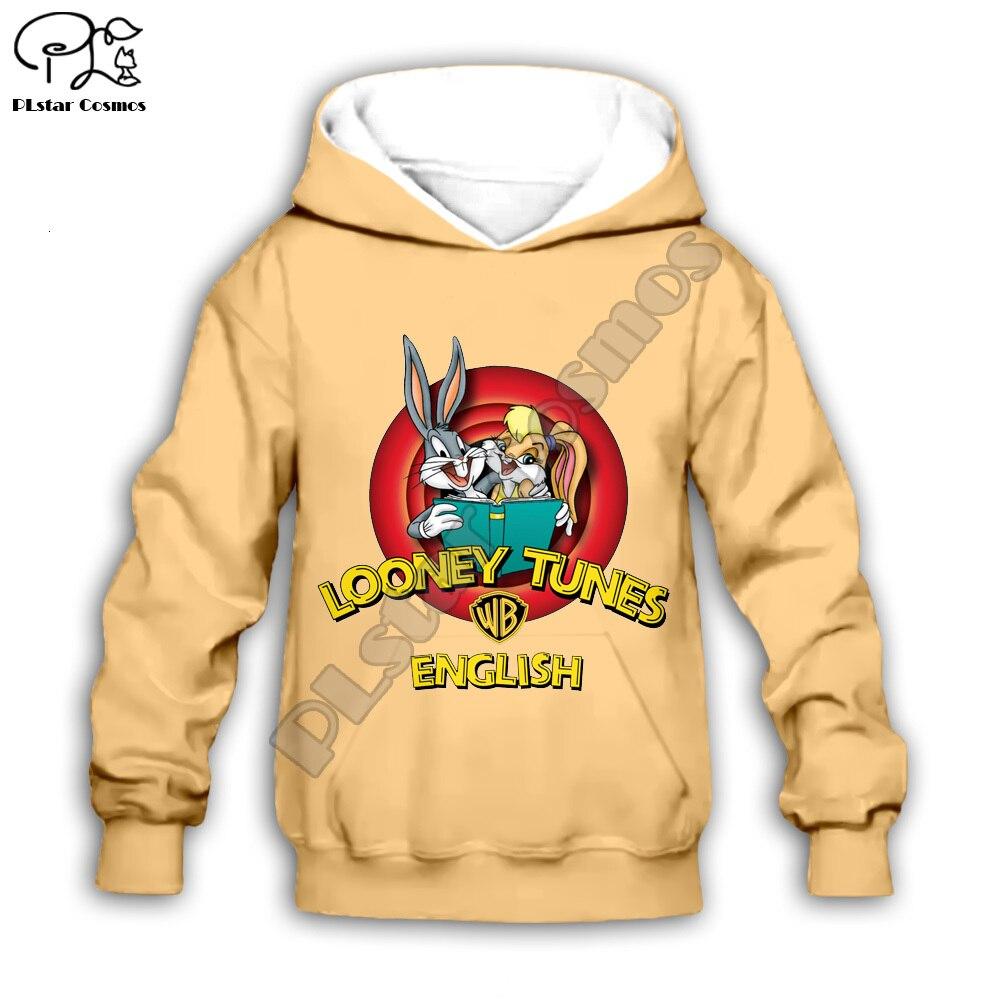 Kids Bugs Bunny lola print 3D hoodies Sweatshirt children autumn coat toddler Looney Tunes boy girl clothing zipper tshirt Pant
