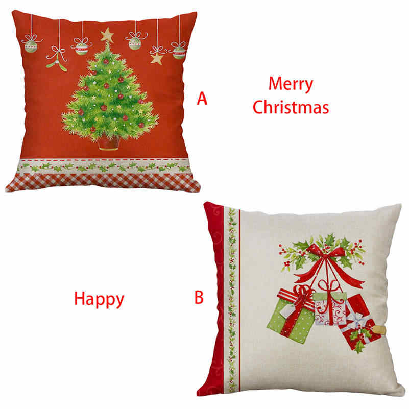 Baru Natal Pohon Bantal Case Sofa Pinggang Melempar Bantal Cover Home Decordecorative Bantal Bantal Cover Merry Natal 661DT10