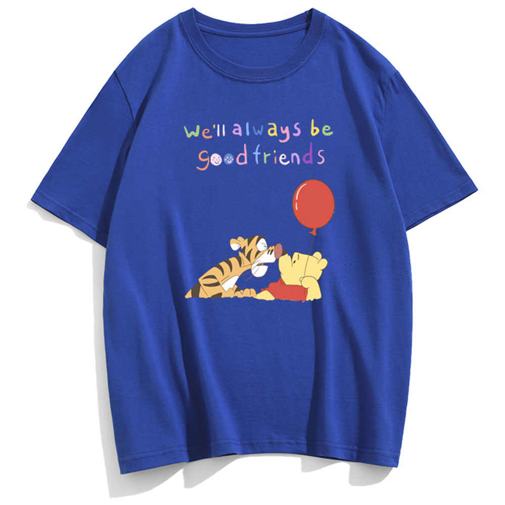 디즈니 패션 위니 푸우 베어 티거 편지 만화 프린트 커플 유니섹스 여성 티셔츠 코튼 반팔 탑 10 색