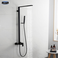 Minimal Design Black Bath Shower Set Solid Brass 3 Modes Bathroom Shower Faucet Square Rain Shower Head Kit.