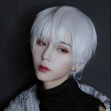LANLAN парик для мужчин, короткие волосы, серебристо-белый красивый корейский натуральный пушистый красный парик, универсальный реалистичный ...