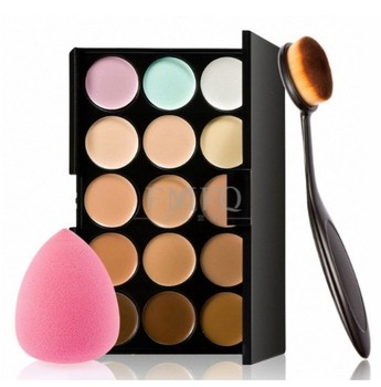 15 color Concealer Contouring correcteur maquillage Cream Based anti cernes makeup cosmetic set brush Sponge Puff wholesale