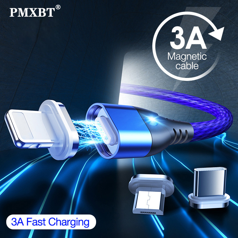 Magnetic USB Charging Cable Micro Type C Lighting For iPhone X Fast Charge Charger Cord For Xiaomi Mobile phone Cable