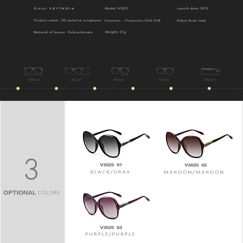 Image 5 - VEITHDIA Brand Designer Vintage Women Sunglasses Polarized Retro Luxury Female Sun Glasses gafas oculos de sol feminino VT3025-in Women's Sunglasses from Apparel Accessories