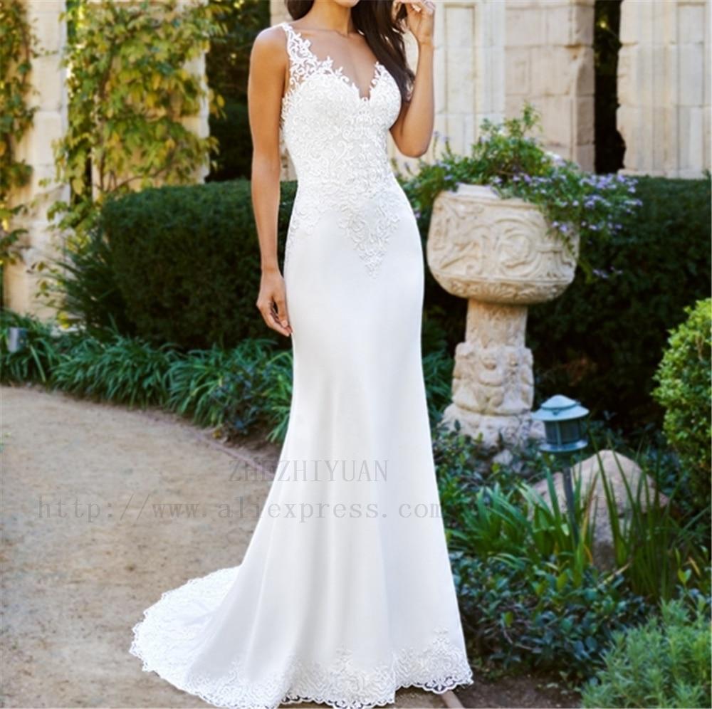 Luxury White Appliques Deep V-Neck Spaghetti Straps Court Train Satin Dropped Vestidos De Boda Satin Sheath White Wedding Dress