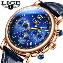 2021 LIGE nowe zegarki luksusowe kwarcowe zegarki męskie skórzany pasek 30M wodoodporny modny zegarek męski zegar Relogio Masculino + Box tanie tanio 24cm BUSINESS QUARTZ NONE 3Bar Klamra CN (pochodzenie) STAINLESS STEEL Hardlex Kwarcowe Zegarki Na Rękę Papier Skórzane
