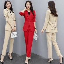 High quality slim women's suits pants suit Autumn new belt full sleeve ladies suit jacket female Casual trousers Two-piece sets