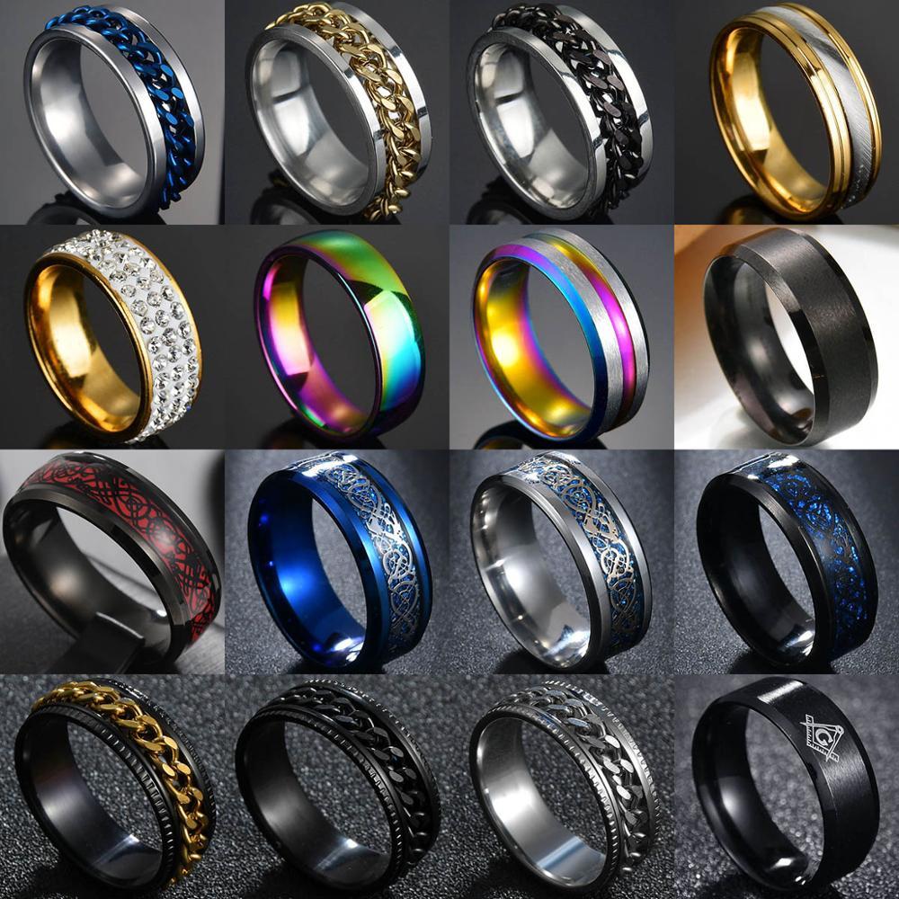 8mm Punk Titanium Steel Roman Numeral Twist Chain Rings For Men Polished Black Punk Rock Biker Ring Wedding Masonic Ring|Engagement Rings| - AliExpress