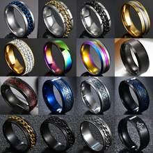 8mm Punk acciaio al titanio numeri romani anelli a catena torsione per uomo anello da motociclista Punk Rock nero lucido anello massonico da sposa