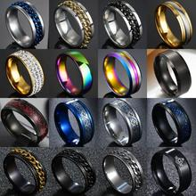 Rings for Punk Wedding Titanium Steel Black Roman 8mm Polished Twist-Chain Numeral Men