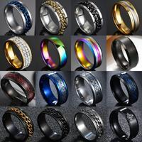 Anillos de cadena de titanio y acero Número Romano para hombre, 8mm, negro pulido, Rock Biker, boda, regalo de joyería