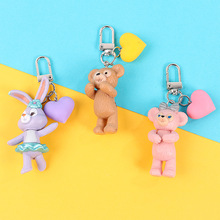 Cartoon Stellalou Rabbit Duffy Bear Doll key chain Pendant For Female Bag Accessories car keychains  Cute Keyring