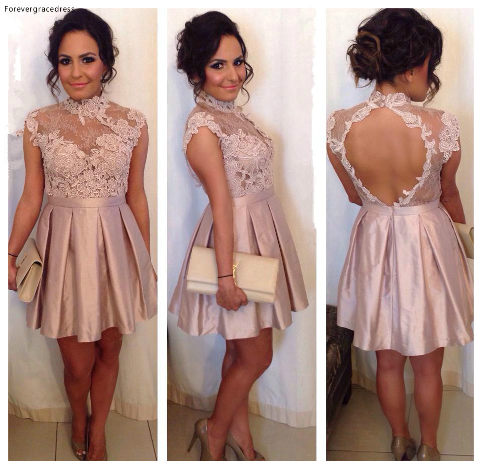 Peach Pink Cocktail Dress Cheap A Line Sheer High Neck Applique Backless Holiday Club Wear Homecoming Party Dress Plus Size