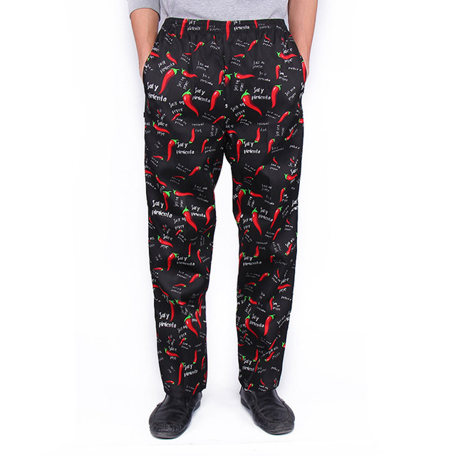 Chef Trousers Food Service Checked Striped Pants Elastic Peppers Restaurant Kitchen Pants Bakery Stretch Work Wear Uniform Cook