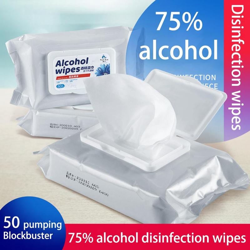 50pcs/Pack Antiseptic Cleanser Cleaning Sterilization First Aid Home Medical Disinfection Portable 75% Alcohol Swabs Pads Wipes