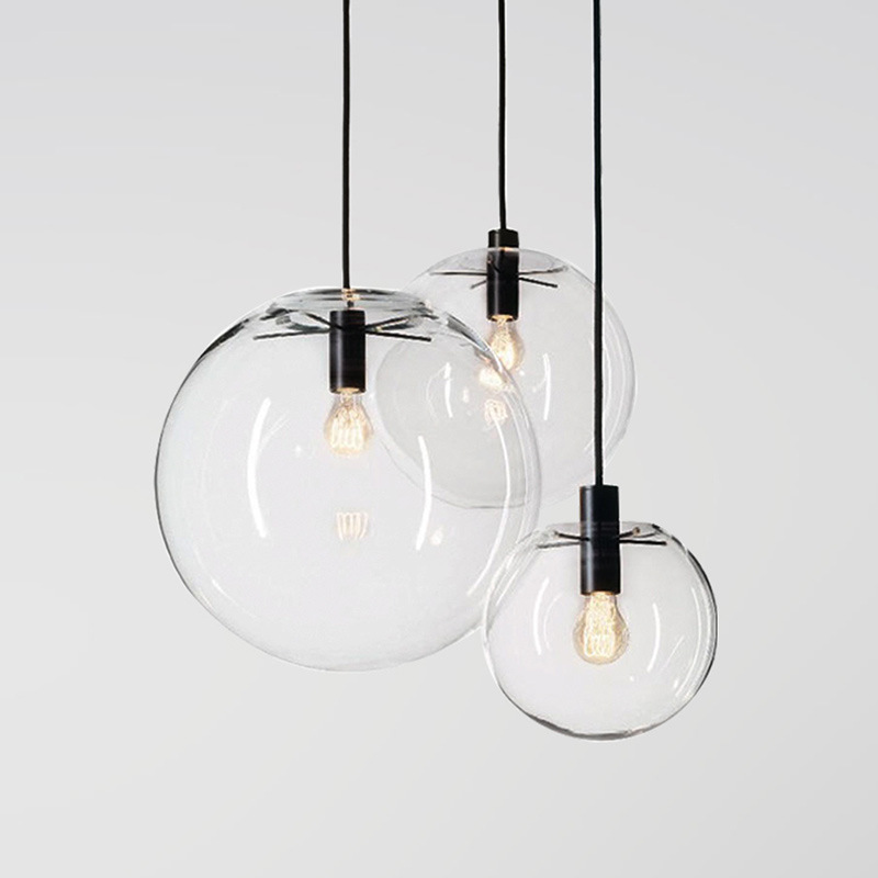 Nordic Transparent Glass Chandelier Modern Minimalist Dining Room Bar Cafe Chandelier Single-headed Ball Chandelier
