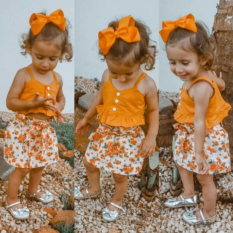 Toddler Kid Baby Girl Sling Top Floral Dress Skirt Outfit Clothes Summer 1-6Y
