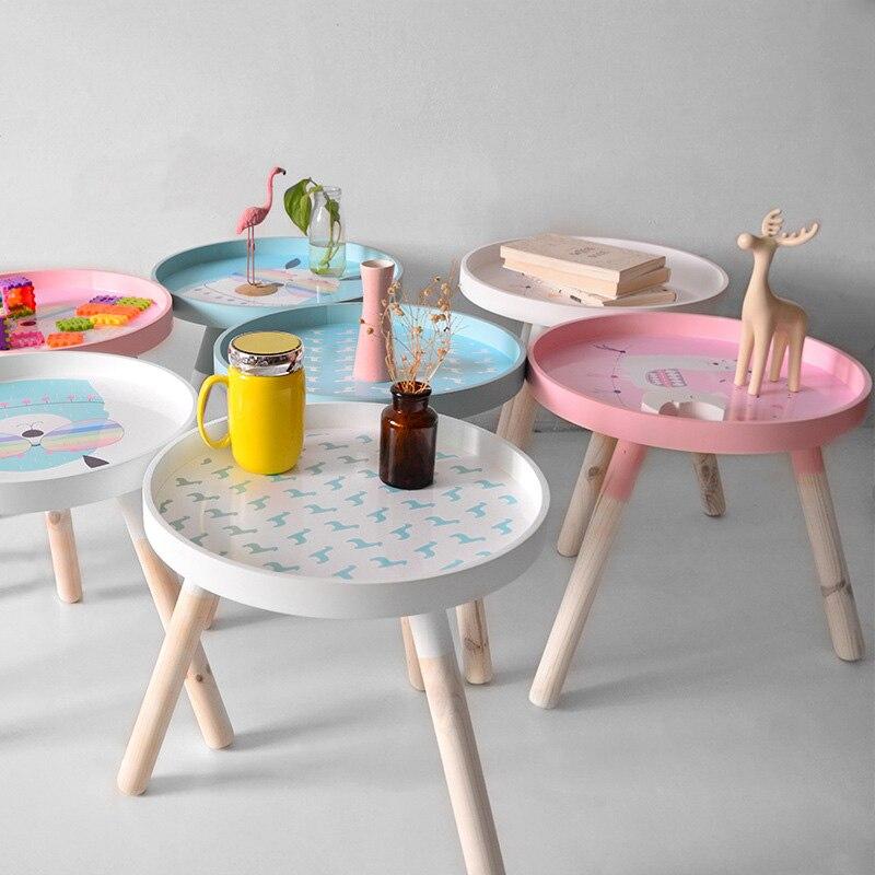 Nordic Alpaka Holz Kaffee Tisch Kleine Sofa Seite Tische Wohnzimmer Tisch Möbel Mini Runde Home Dekoration Moderne Nette - 2