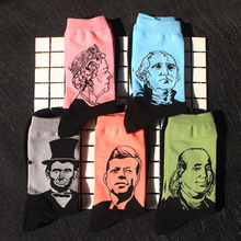 Funny Retro Literary Abstract Oil Painting Series Abraham Lincoln Head Print Personality Couple Socks Mens Cotton Tube