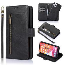9 Porte cartes Portefeuille À Glissière Pour iPhone 12 11 Pro Max XS X XR 7 8 plus 6 6s SE 2020 XS Max Étui En Cuir Couverture Magnétique