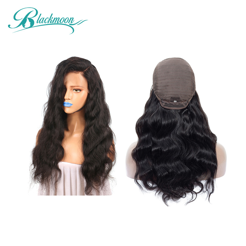 Blackmoon Hair Lace Front Human Hair Wigs Body Wave 8-24 Inch 13x4 150% Brazilian Remy Lace Frontal Wigs Free Part Natural Color