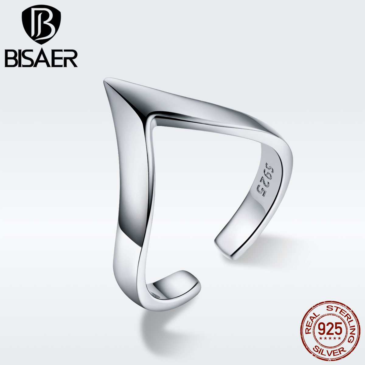 BISAER Genuine 925 Sterling Silver V Geometric V-shape Open Adjustable Rings For Women And Man Fashion Statement Jewelry GXR470