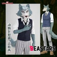 Uwowo anime beastars legosi cosplay traje uniforme legal terno cinza lobo traje