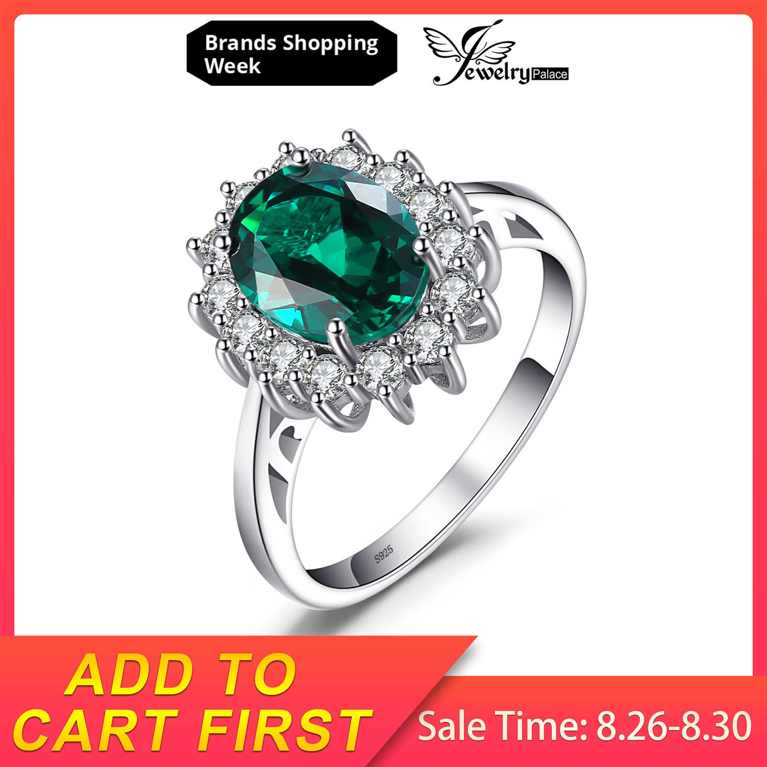 JewelryPalace Princesa Diana William Kate Middleton é Criado Esmeralda 2.5ct Anel Sólido 925 Anel de Prata Para As Mulheres Presente