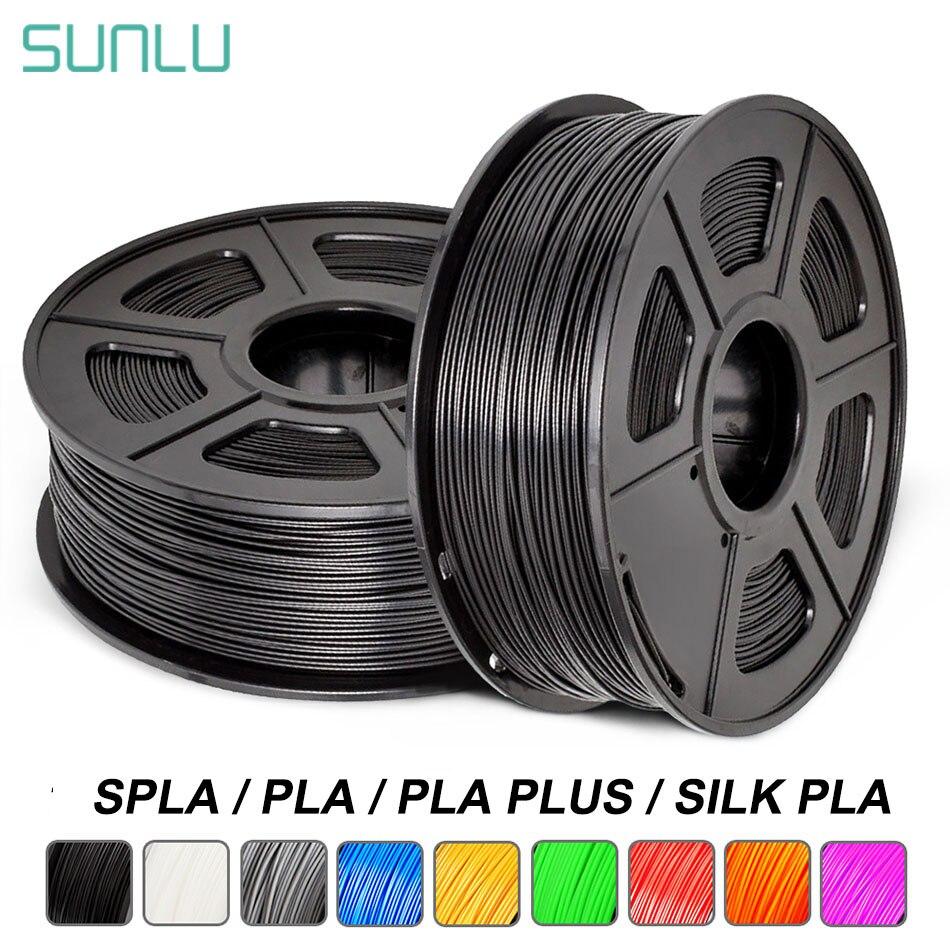 Sunlu pla mais filamento da impressora 3d 1.75mm 1kg com spla spool de seda pla filamento 3d arco-íris s pla material de impressão