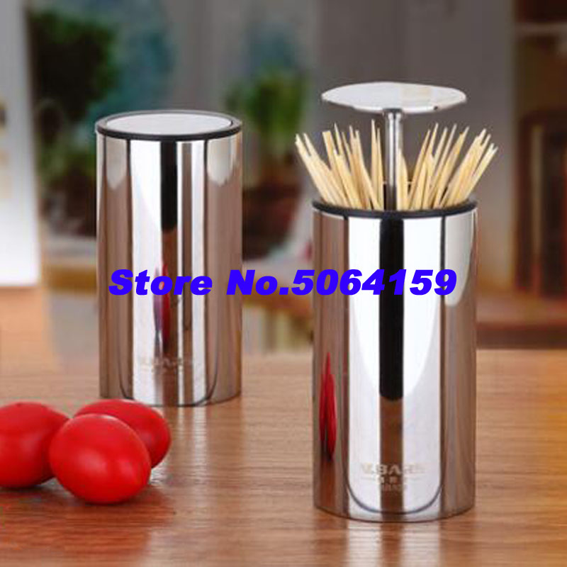 High Quality 304 Stainless Steel Toothpick Box Press Automatic Creative Toothpick Canister Household Items Toothpick Canister